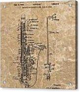 Saxophone Patent Design Illustration Acrylic Print