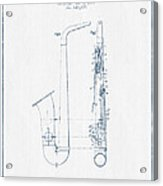 Saxophone Patent Drawing From 1899 - Blue Ink Acrylic Print