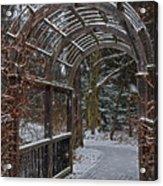 Garden Entrance During Winter Snow At Sayen Gardens Acrylic Print