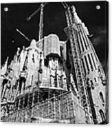 scaffolding and cranes above Sagrada Familia Barcelona Catalonia Spain Acrylic Print