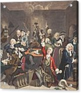 Scene In A Gaming House, Plate Vi Acrylic Print by William Hogarth