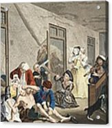 Scene In Bedlam, Plate Viii, From A Acrylic Print by William Hogarth