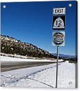 Scenic Highway 12 With Snow Utah Acrylic Print