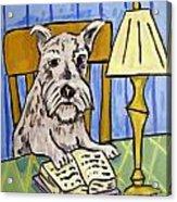 Schnauzer Reading A Book Acrylic Print by Jay  Schmetz