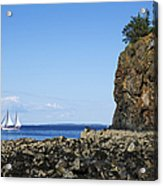Schooner Sailing In The Bay Acrylic Print by Diane Diederich