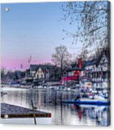 Schuylkill River And Boathouse Row Philadelphia Acrylic Print by Bill Cannon