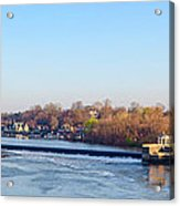 Schuylkill River At Boathouse Row And  The Fairmount Waterworks Acrylic Print by Bill Cannon