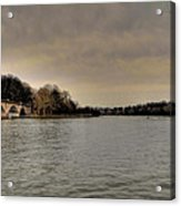 Schuylkill River On A Cloudy Day Acrylic Print by Bill Cannon