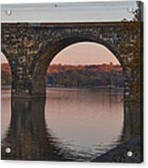 Schuylkill River Railroad Bridge In Autumn Acrylic Print