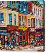 Schwartzs Deli And Warshaw Fruit Store Montreal Landmarks On St Lawrence Street  Acrylic Print