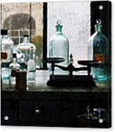 Science - Balance And Bottles In Chem Lab Acrylic Print