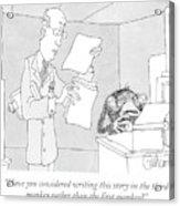 Scientist Talking To Monkey At Typewriter Acrylic Print