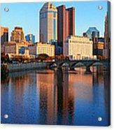 Scioto River And Columbus Ohio Skyline Acrylic Print