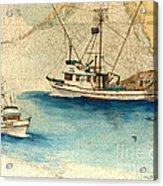 Scooter Fishing Boat Nautical Chart Map Art Acrylic Print