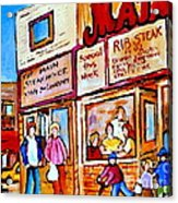 Scooting By The Main Steakhouse Authentic Montreal Paintings Prints Originals Commissions C Spandau Acrylic Print