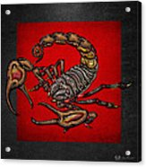 Scorpion On Red And Black Leather Acrylic Print