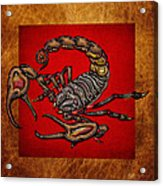 Scorpion On Red And Brown Leather Acrylic Print