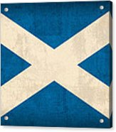 Scotland Flag Vintage Distressed Finish Acrylic Print by Design Turnpike