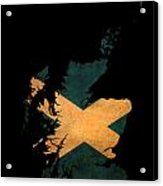 Scotland Grunge Map Outline With Flag Acrylic Print