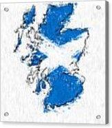 Scotland Painted Flag Map Acrylic Print