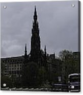 Scott Monument Next To Waverley Train Station And With Sightseeing Buses Acrylic Print