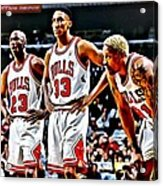 Scottie Pippen With Michael Jordan And Dennis Rodman Acrylic Print by Florian Rodarte