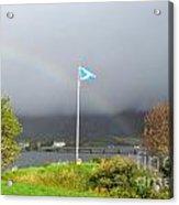 Scottish Flag With A Rainbow Acrylic Print