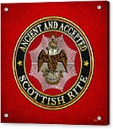 Scottish Rite Double-headed Eagle On Red Leather Acrylic Print