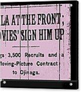 Screen Capture  Newspaper Article  Mutual Film Corporation's  The Life Of General Villa 1914-2013 Acrylic Print