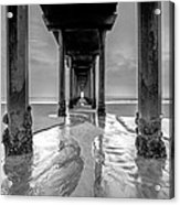 Scripps Pier Black And White Acrylic Print