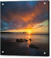 Scripps Pier Sunset 2 - Square Acrylic Print