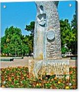 Sculpture And Flowers In Antalya Park Along Mediterranean Coast-turkey  Acrylic Print