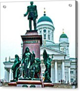 Sculpture Of Alexander II In Cathedral Of Helsinki-finland Acrylic Print