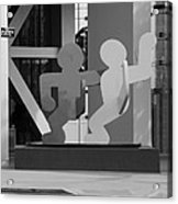 Sculpture On State Street In Black And White  Acrylic Print