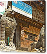Sculptures Of Protector Figures In Front Of Sufata Buddhist College In Patan Durbar Square Acrylic Print