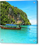Sea Beautiful And Mountains Acrylic Print by Boon Mee
