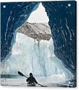 Sea Kayaker Paddles Through An Ice Cave Acrylic Print
