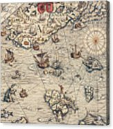 Sea Map By Olaus Magnus Acrylic Print