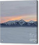 Sea Of Fog And Snow-capped Mountain In Sunset Acrylic Print