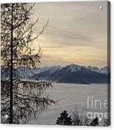 Sea Of Fog In Sunset Acrylic Print