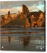 Sea Stacks And The City Acrylic Print