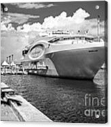 Seafair Art Venue Yacht Moored In Miami - Black And White Acrylic Print by Ian Monk