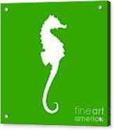 Seahorse In Green And White Acrylic Print
