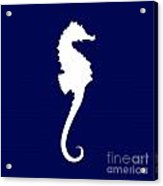 Seahorse In Navy And White Acrylic Print