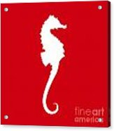 Seahorse In Red And White Acrylic Print