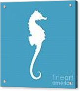 Seahorse In White And Turquoise Blue Acrylic Print