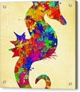 Seahorse Watercolor Art Acrylic Print