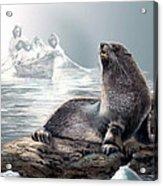 Harp Seal And Native Hunters Acrylic Print