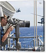 Seaman Apprentice Stands Watch Aboard Acrylic Print by Stocktrek Images