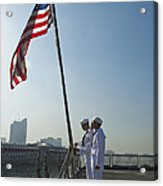 Seamen Participate In Morning Colors Acrylic Print